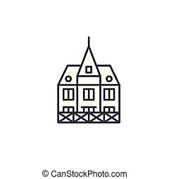 German building linear icon concept. German building line vector sign, symbol, illustration.