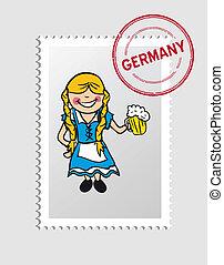 German cartoon person postal stamp