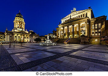 German Cathedral and Concert Hall on Gendarmenmarkt Square at Night, Berlin, Germany