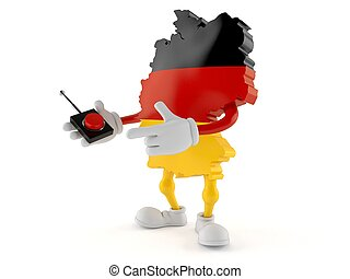 German character pushing button on white background