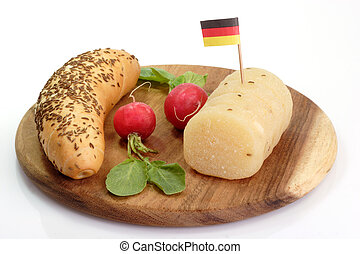 German Cheese - Roll of german cheese with bread and radish