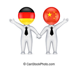 German-Chinese cooperation concept. Isolated on white background.3d rendered.