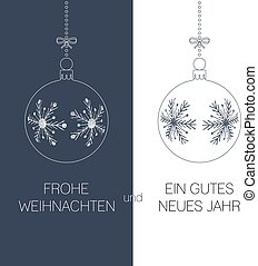 german christmas and new year greeting card