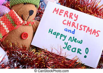 german Christmas card with teddy bear. Merry Christmas and a happy New Year