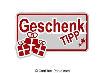 German Christmas hints label