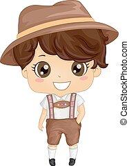 German Costume Boy - Illustration Featuring a Boy Wearing a...