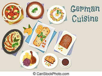 German cuisine Christmas dishes for dinner icon - German...