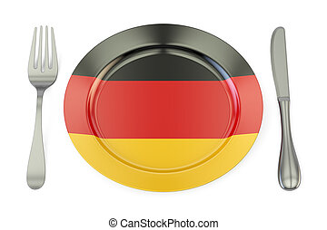 German cuisine concept, plate with flag of Germany. 3D rendering