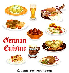 German cuisine dinner icon with Oktoberfest food