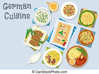 German cuisine dinner with beer and dessert icon - German...