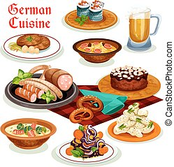 German cuisine dinner with beer and sausage icon