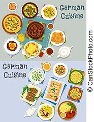 German cuisine lunch icon set with meat dishes - German...