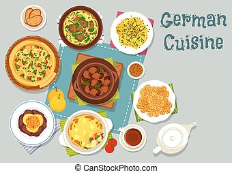 German cuisine meat dishes icon for dinner design