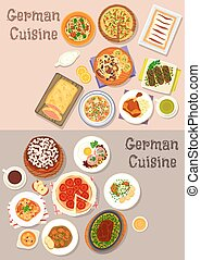 German cuisine meat dishes with dessert icon set - German...