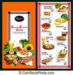 German cuisine restaurant menu template design