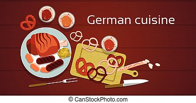 German cuisine food concept as a place setting with knife... stock ...