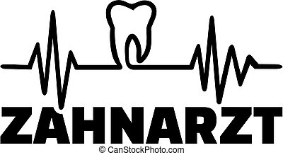 German dentist with heartbeat line tooth