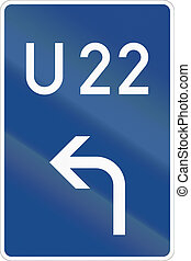 German direction sign for Motorway by-pass route.
