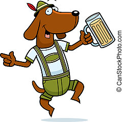 A happy cartoon German dog dancing and smiling.