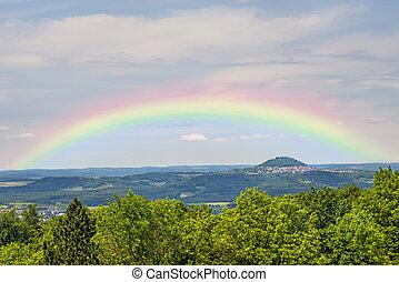 German emperor hill Hohenstaufen with rainbow