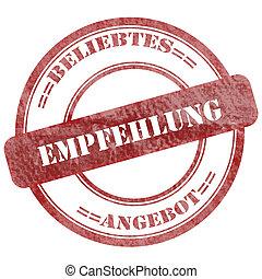 German, Empfehlung, Red Grunge Seal Stamp