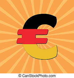 German Euro symbol sunburst