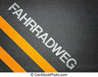German Fahrradweg Text Writing Road Asphalt