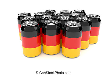 German Flag Aluminum Cans Isolated On A White Background 3d illustration