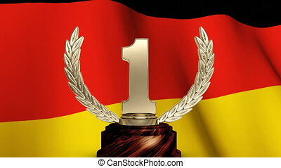 German flag and a first place trophy