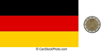 German flag and coin