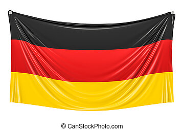 German flag hanging on the wall, 3D rendering