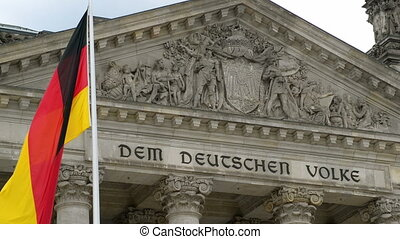 german flag in front of the bundest - A waving german flag...