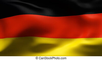 GERMAN flag in slow motion - Creased cotton flag with...