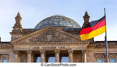 german flag on german bundestag