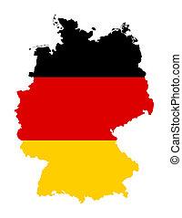 German flag on map