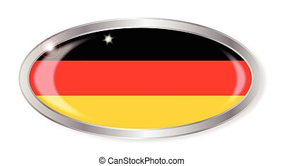 German Flag Oval Button