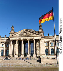 German Flag Streaming before the German Parliament at Berlin