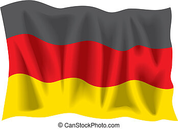 German Flag - Waving flag of Germany isolated on white