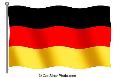 German Flag Waving - German Flag on a white background