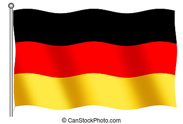 German Flag Waving - German Flag on a white background