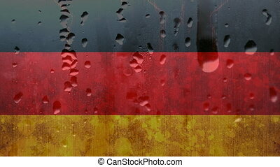 German flag with condensation - Image of German flag in the ...