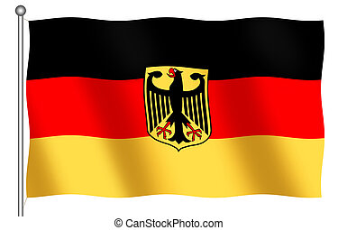 German Flag with Emblem (Bundesdienstflagge) on a white...