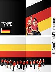 German flag with people