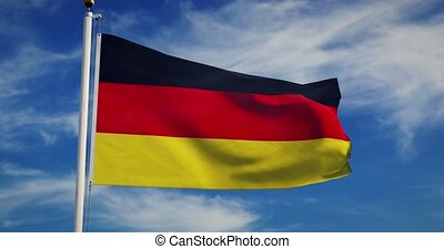 German Flagpole And Flag Waving Represents Federal Republic ...