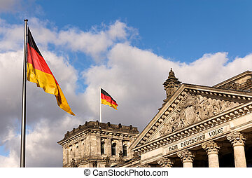 German Flags at the Reichstag Seat of the Federal Parliament
