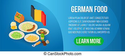 German food concept banner, isometric style