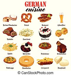 German Food Cuisine Illustration - A vector illustration of...