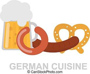 German food vector illustration. - Oktoberfest beer mug...