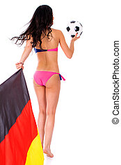 German football cheerleaders with a ball and a flag in their hands, isolated on white background