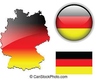 German, Germany flag, map and gloss - Germany, Deutschland...